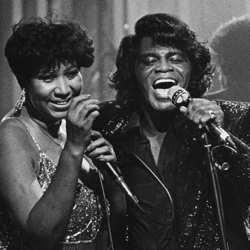 James Brown's final words were delivered with the soul he embodied in life (Pictured with Aretha Franklin in 1987).
