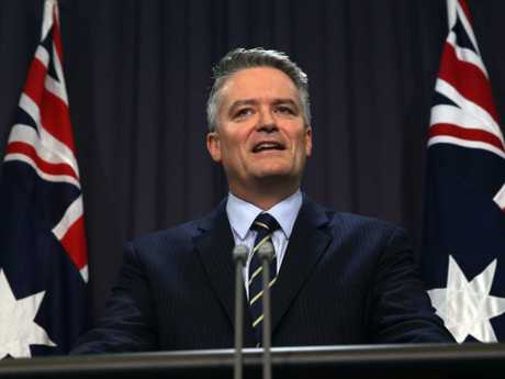 Senator Mathias Cormann during a press conference in Parliament House Canberra. Picture: Gary Ramage