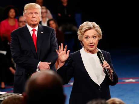 The Democrats have another chance duting the midterms. Looking back, here's Democratic presidential nominee former Secretary of State Hillary Clinton as then-Republican presidential nominee Donald Trump listened during a debate at Washington University. Picture: Getty