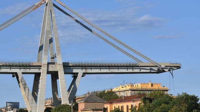 The Morandi Bridge, three days after a section of it collapsed. Picture: Piero Cruciatti
