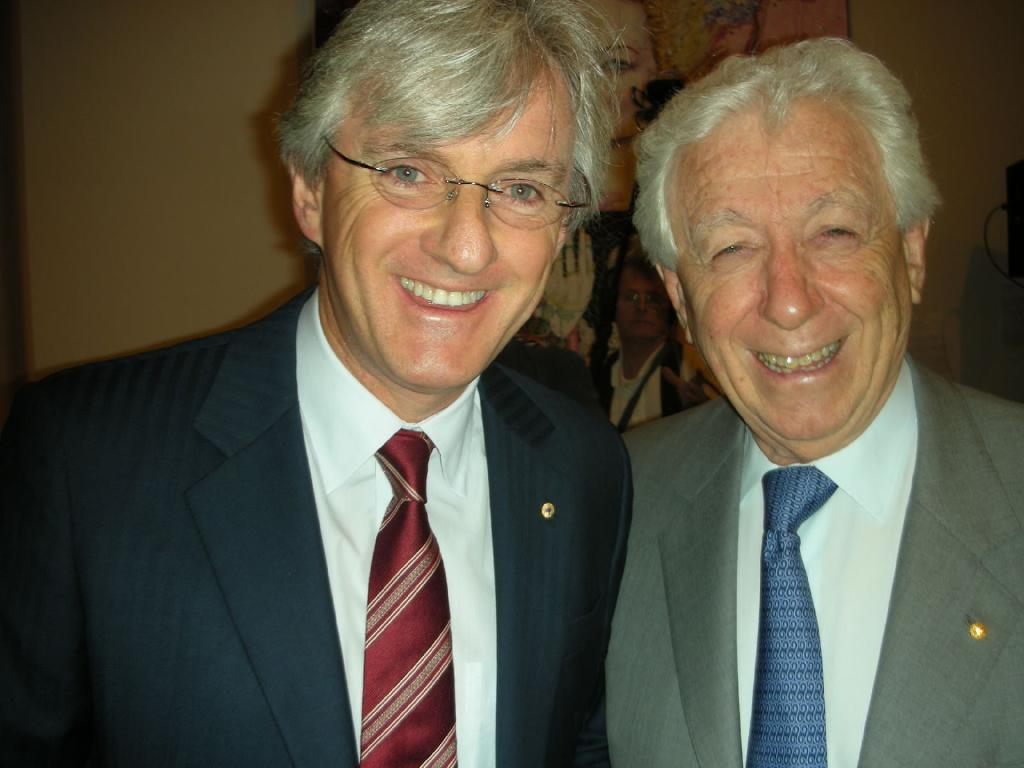 Steven with his father and predecessor as FFA chairman Frank Lowy.