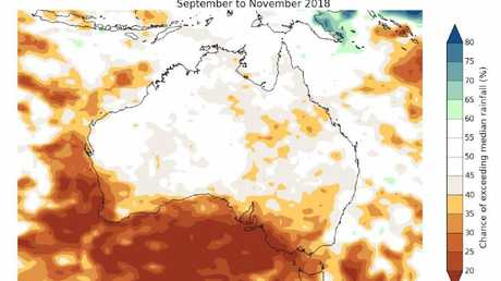 Map showing the chance of Australia exceeding average rainfall up to November. Basically, below average rain. Picture: Bureau of Meteorology.