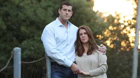 Ben Roberts-Smith with his wife Emma, on the Sunshine Coast. Picture: Lyndon Mechielsen/The Australian