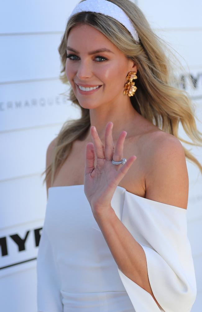Jennifer Hawkins says goodbye to her role at Myer. Picture: Alex Coppel.