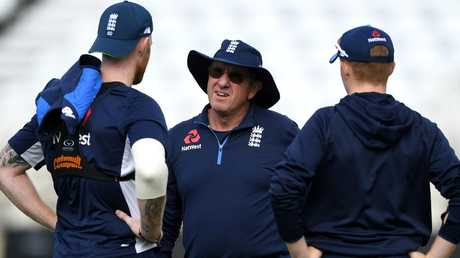 England coach Trevor Bayliss speaks with Ben Stokes and Ollie Pope during a nets session at Trent Bridge. (Photo by Gareth Copley/Getty Images)