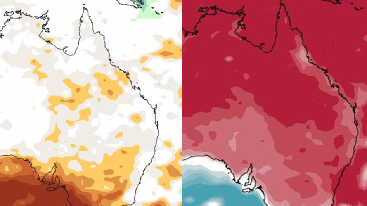 Dry (left) and hot (right) is the forecasts for spring. Picture: Bureau of Meteorology.