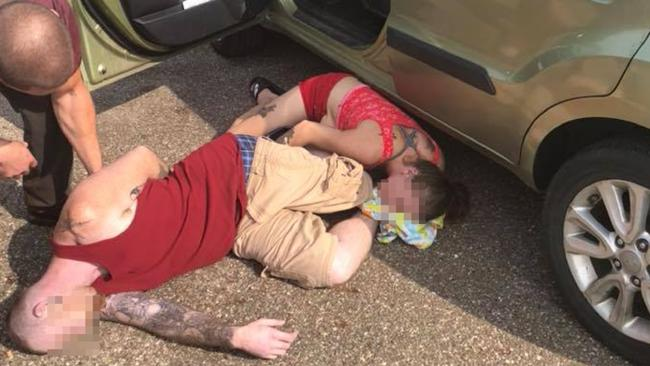 Baby saved from hot car with drug addict parents in the car in Ohio, USA. Picture: Eric Asher/Facebook