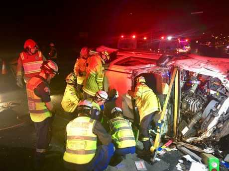 A man is trapped in his car after an accident on the M4 westbound at Homebush. The car was clipped by another vehicle two weeks ago. He suffered head and chest injuries.