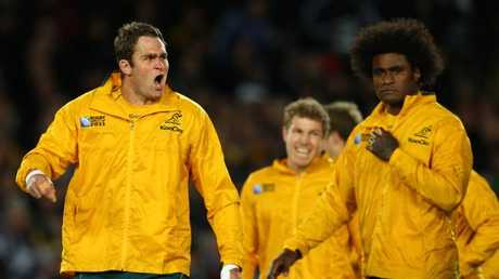 Wallabies captain James Horwill prepares his team to face the haka in 2011.