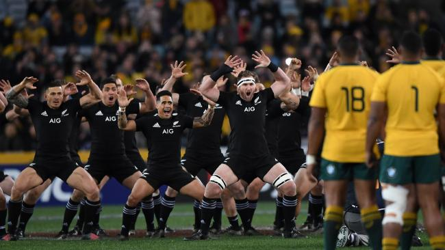 The All Blacks perform the haka before game one of the Bledisloe Cup in 2017. Picture: David Moir/AAP