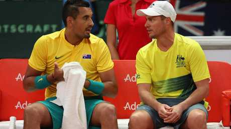 Nick Kyrgios of Australia with Lleyton Hewitt in the Davis Cup. (Photo by Julian Finney/Getty Images)