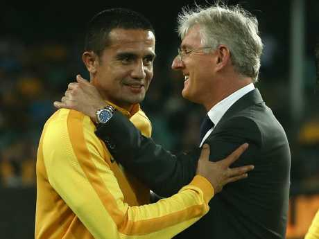 Lowy and Socceroos icon Tim Cahill share a moment. Picture: Getty Images