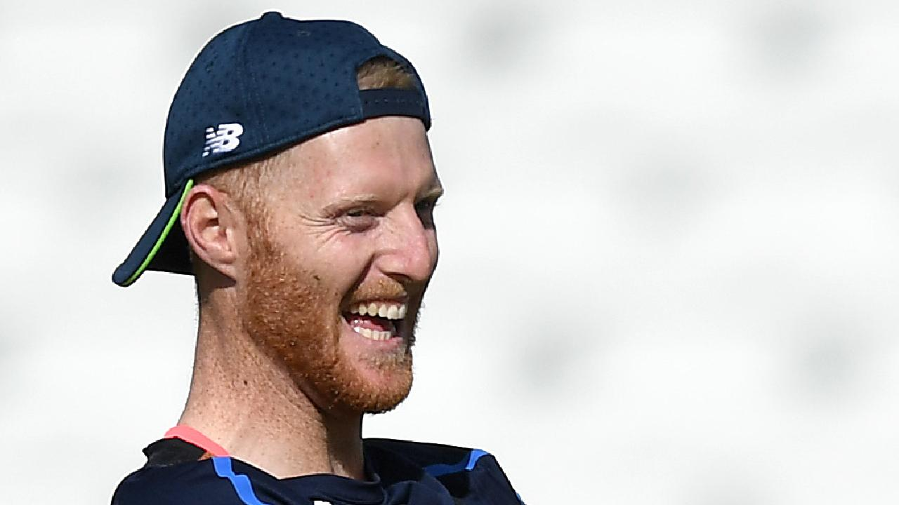 Ben Stokes sees the lighter side of things during a training session. (Photo by Gareth Copley/Getty Images)