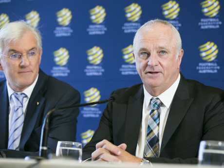 Steven Lowy withGraham Arnold as the Socceroos boss' unveiling.