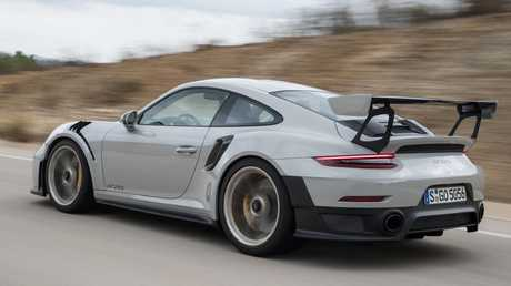 The huge wing is not just for show, it's designed to keep the GT2 RS glued to the tarmac. Picture: Supplied.