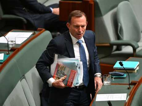 Former prime minister Tony Abbott during Question Time. Picture: AAP