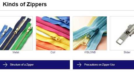 YKK is the world's largest zipper manufacturer brand. Picture: YKK