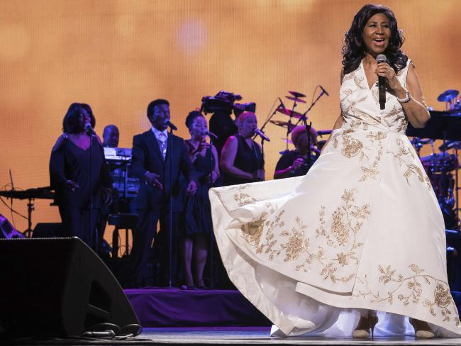 Aretha Franklin performs at the world premiere of Clive Davis: The Soundtrack of Our Lives at Radio City Music Hall, during the 2017 Tribeca Film Festival.