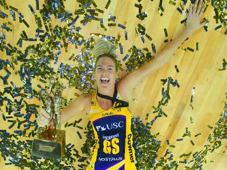 Caitlin Bassett celebrates the Lightning's Grand Final win. Picture: Getty Images