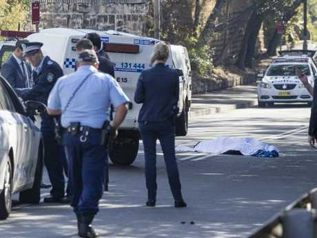The scene at Forest Lodge after the body of rapper Jett McKee was found lying in the road. Picture: Brook Mitchell
