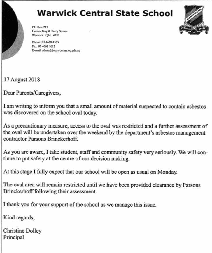 Warwick Central State School families received this letter from principal Christine Dolley.