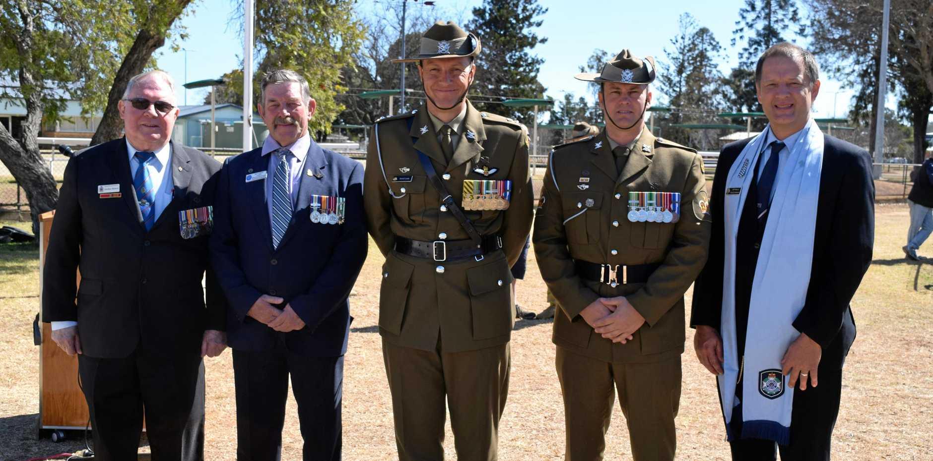 A DAY OF RESPECTS: Gordon Nielson, Ken Ashton, LTCOL David Lynch, WO2 Tim Thompson and Jeff Baills. Spoke at today's Vietnam Veteran's rememberance service.