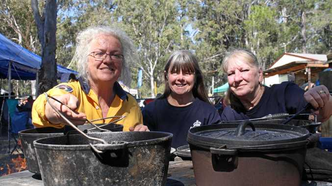 Nymboida Bushfire Brigade 'Yellow Belly' team Pamela Denise, Kerry and Sue Stevens were cooking up a storm for the cook-off competition.