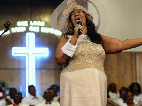 Aretha Franklin sings during a memorial service for her father and brother, Rev. C.L. and Rev. Cecil Franklin, at New Bethel Baptist Church where they were ministers, in Detroit. Picture: AP