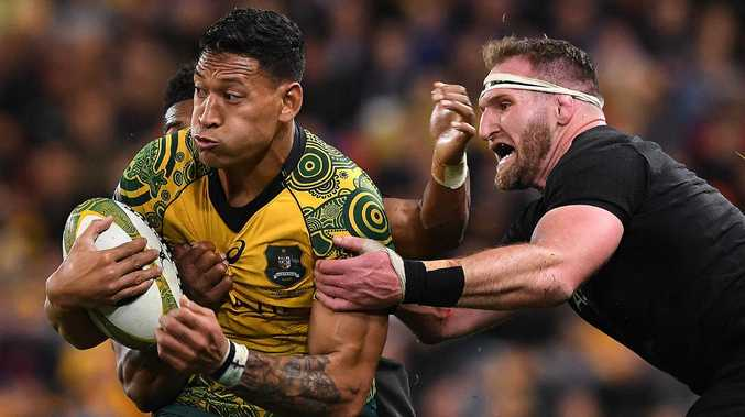 Israel Folau (left) and Kieran Read go head-to-head again in Sydney. Picture: AAP