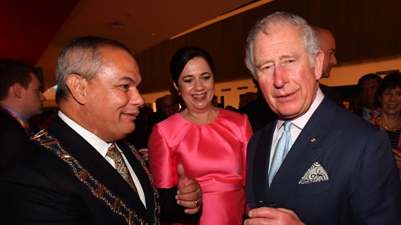 Prince Charles, Gold Coast Mayor Tom Tate and Queensland Premier Annastacia Palaszczuk attend a reception before the Commonwealth Games opening ceremony. Picture: Darren England/Getty Images