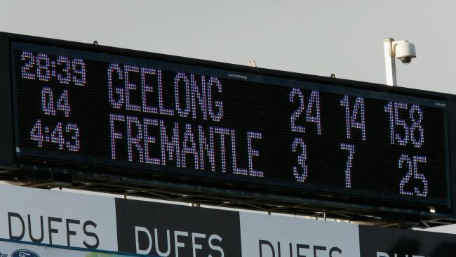 The scoreboard shows Geelong 133 points in front. Picture: Getty Images