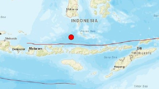 An earthquake has occurred in the Flores Sea in Indonesia.  Picture:  Supplied