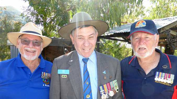 Battle of Coral Balmoral veterans John Foxwell, Alan 'Jack' Parr and Vince Dunn at Cockscomb Veterans Bush Retreat during Vietnam Veterans Day commemorative service on Saturday.