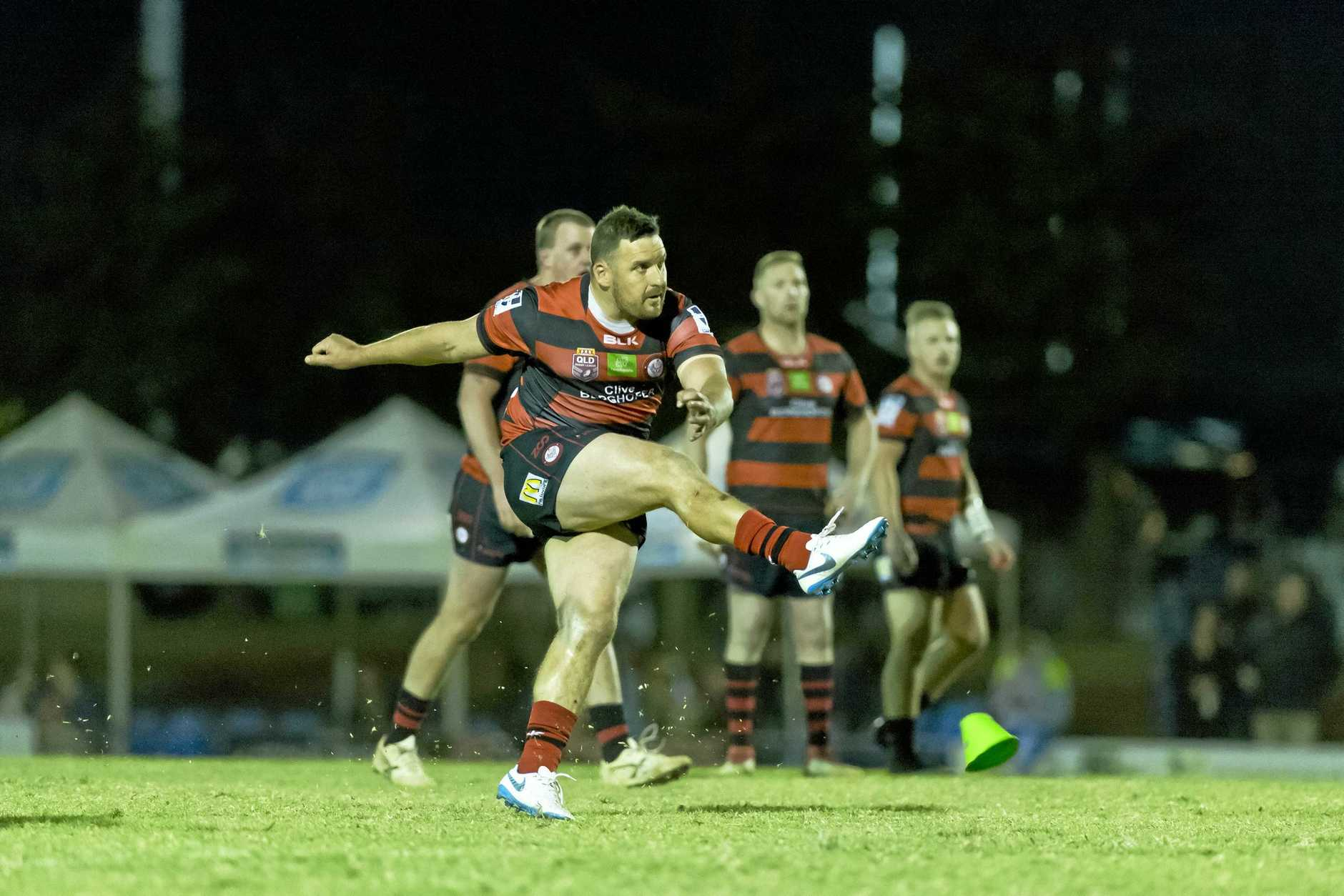 Brett Seymour goal for Valleys Roosters against Wattles in TRL Premiership qualifying final rugby league at Glenholme Park, Saturday, August 18, 2018.
