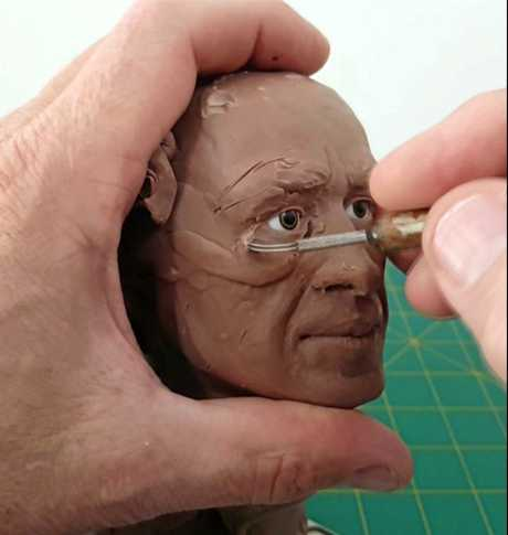 Grant Lehmann's bust of JT taking shape.