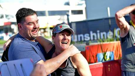 IT'S A YES: Craig Moore asked Kellie Kruger to marry him at the end of the half marathon.