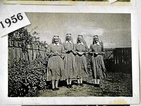 HERE TO SERVE: Sr Cecilia (second from right) arrives in Toowoomba with the Missionary Sisters of Service in 1964.