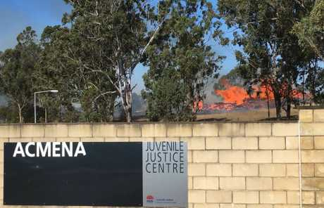 Debris well alight on a Swallow Rd, South Grafton property adjacent to Acmena Juvenile Justice Centre at 1.20pm on Sunday, 19th August, 2018.
