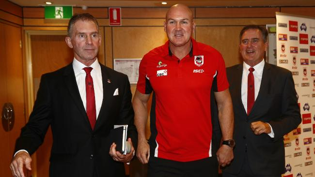 Dragons coach Paul McGregor with chairman Brian Johnston and CEO Peter Doust. Picture: John Appleyard