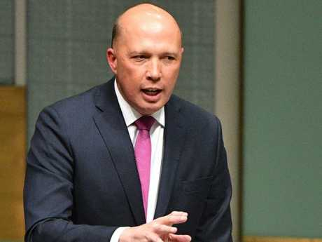 Home Affairs Minister Peter Dutton was asked to stand against Turnbull, but Dutton refused. For now. Picture: AAP.