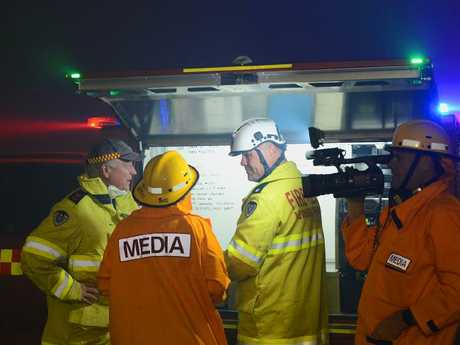 It was a busy night of planning and firefighting at Port Stephens. Picture: Karl Hofman