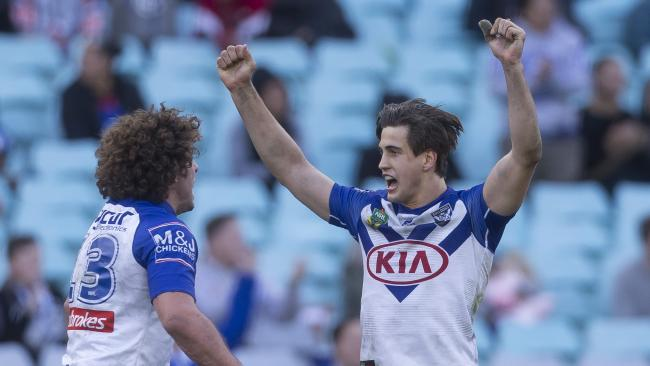 Lachlan Lewis celebrates after kicking the winning field goal against the Warriotrs on August 19. Picture: Craig Golding/AAP