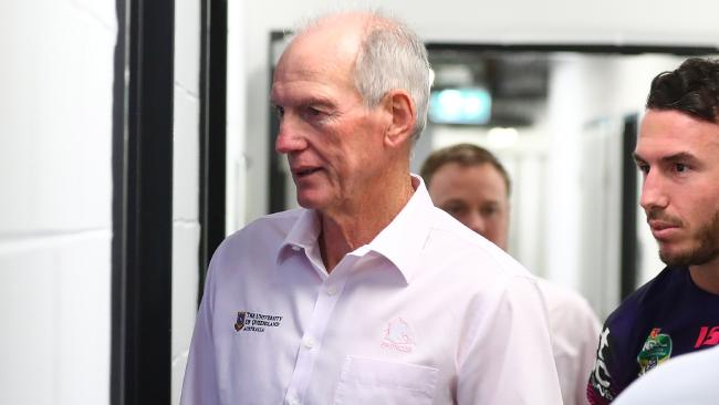 BRISBANE, AUSTRALIA — AUGUST 16: Broncos coach Wayne Bennett and Darius Boyd arrive for the press conference after the round 23 NRL match between the Brisbane Broncos and the South Sydney Rabbitohs at Suncorp Stadium on August 16, 2018 in Brisbane, Australia. (Photo by Chris Hyde/Getty Images)