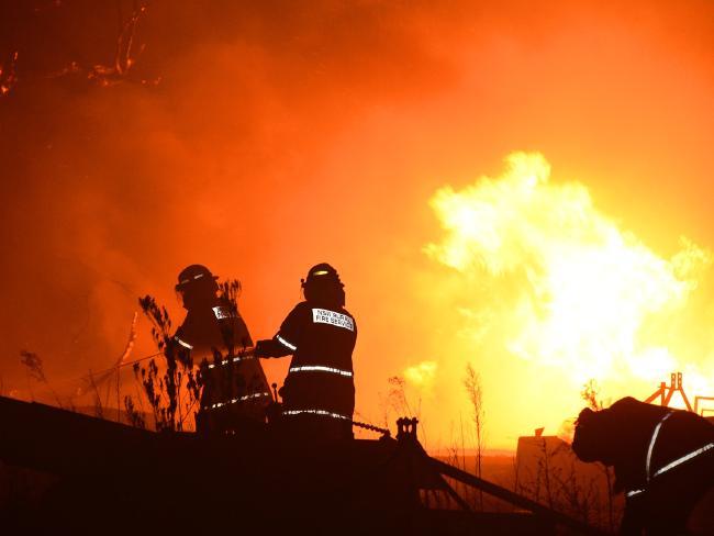 Firefighters battle the blaze near Port Stephens last night. Picture: Karl Hofman
