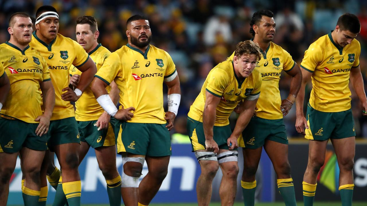 Michael Hooper of the Wallabies and teammates look dejected after an All Blacks try during The Rugby Championship Bledisloe Cup match between the Australian Wallabies and the New Zealand All Blacks at ANZ Stadium. Picture: Getty Images