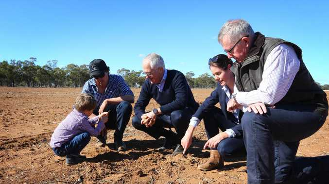 Prime Minister Malcolm Turnbull, with Deputy PM Michael McCormack visit Strathmore Farm outside of the township of Trangie in north-western NSW. Picture:  Britta Campion / The Australian