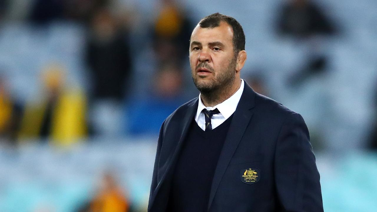 SYDNEY, AUSTRALIA — AUGUST 18: Wallabies coach Michael Cheika watches his players warm up during The Rugby Championship Bledisloe Cup match between the Australian Wallabies and the New Zealand All Blacks at ANZ Stadium on August 18, 2018 in Sydney, Australia. (Photo by Cameron Spencer/Getty Images)