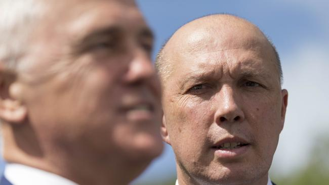 Peter Dutton (right) did not attend a dinner with Malcolm Turnbull on Sunday night. Picture: AAP Image/Glenn Hunt