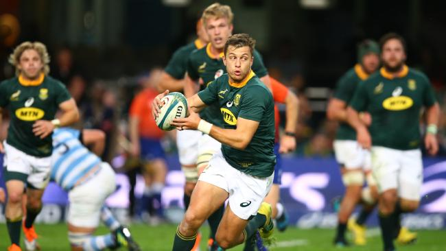 Handre Pollard charges forward for South Africa. Picture: Getty Images