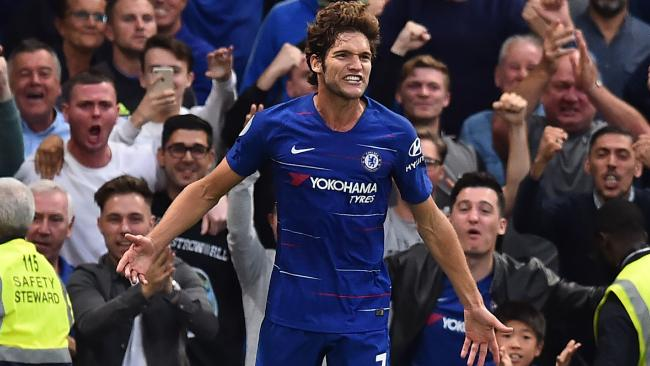 Marcos Alonso celebrates after scoring for Chelsea. Picture: AFP Photo